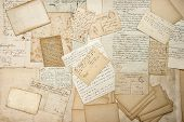 old letters handwritings vintage postcards ephemera. grungy nostalgic sentimental paper background poster