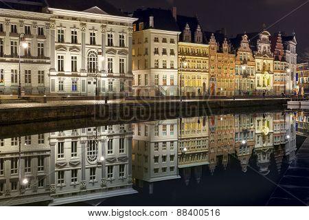Quay Korenlei in Ghent town at night, Belgium
