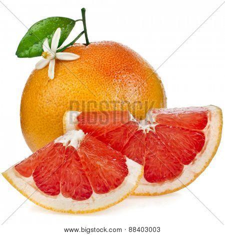 ripe citrus grapefruit  sliked close up isolated on white background