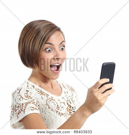 Happy Woman Surprised Looking Her Smart Phone