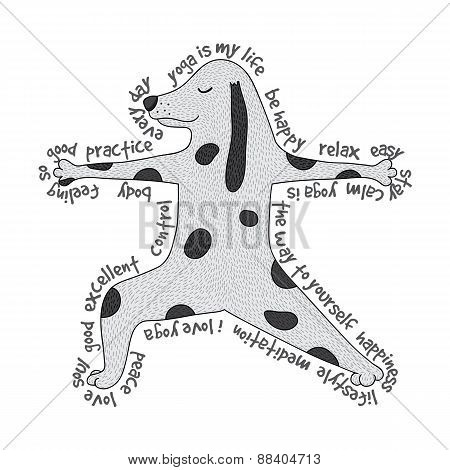 Animal Yoga Illustration - Virabhadrasana Pose. Cute Yoga Dog And Text Around It