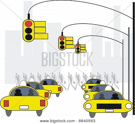 New York taxis illustration.