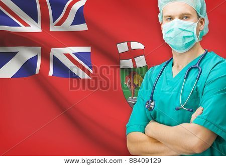 Surgeon with Canadian privinces flag on background - Manitoba poster