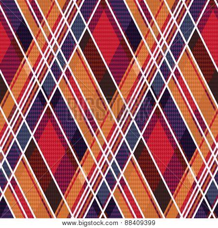Rhombic Tartan Seamless Texture Mainly In Warm Hues