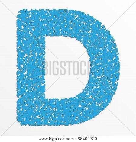 Vector multi color alphabet with grain texture, letter D