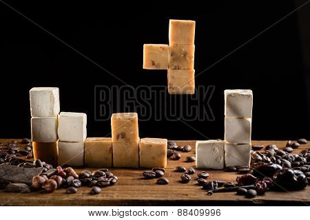 Caramel candies and sweet turkish delights squares