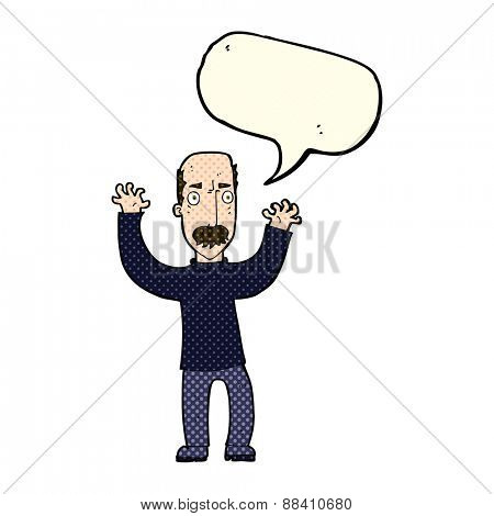 cartoon angry dad with speech bubble