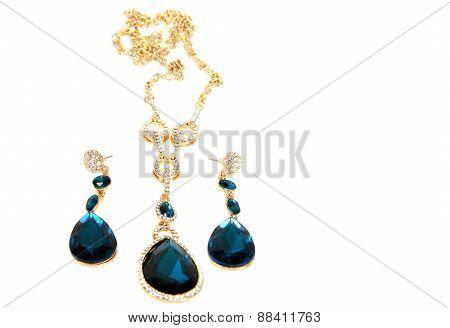 Aquamarine Pendant, Earrings
