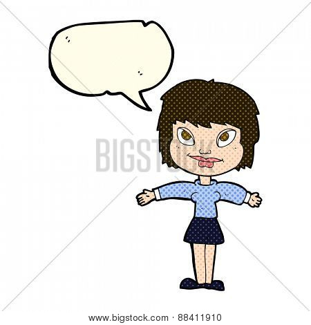 cartoon woman with open amrs with speech bubble