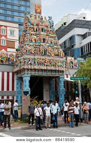 SINGAPORE - FEBRUARY 18, 2015: The Sri Veerama Kaliamman Temple in ethnic district Little India in Singapore. Little India is commonly known as Tekka in the local Tamil community.