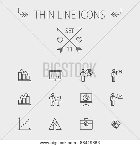 Business thin line icon set for web and mobile. Set includes- recycle, money bag, graph, roller screen, business presentation, pie chart icons. Modern minimalistic flat design. Vector dark grey icon