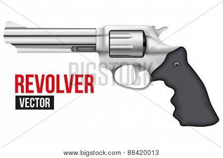 Big Revolver. Silver bright metal.