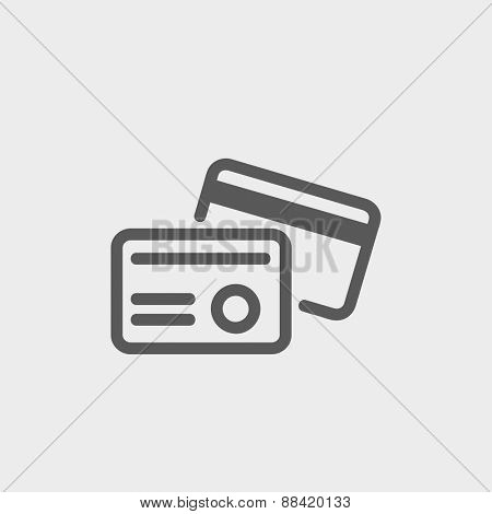 Credit card icon thin line for web and mobile, modern minimalistic flat design. Vector dark grey icon on light grey background.