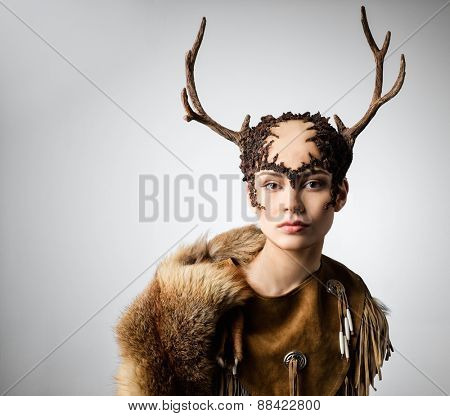 Mythical turnskin woman with deer antlers  poster