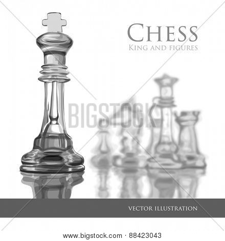 Chess figures, led by King on a white background. Vector illustration / Eps10