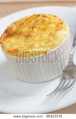 Cottage pie in a white baking dish