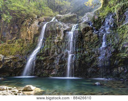 Three Bear Falls Or Upper Waikuni Falls On The Road To Hana On Maui Island Hawaii