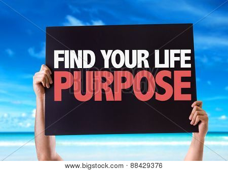 Find Your Purpose card with beach background poster