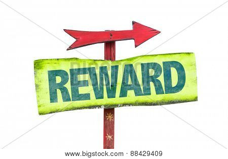 Reward sign isolated on white poster