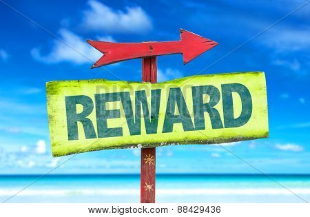 Reward sign with beach background