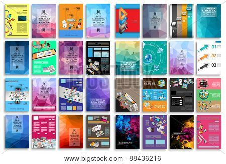 Set of Flyers, background, infographics, low polygon backgrounds, teamwork concepts and so on. 16 pieces with different styles and colors.