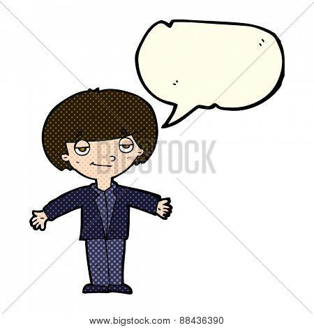 cartoon smug boy with speech bubble