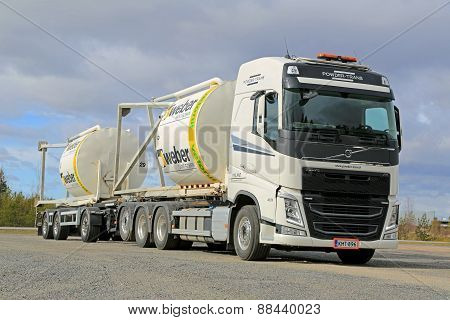 Volvo FH Truck Transports Construction Materials In Silos