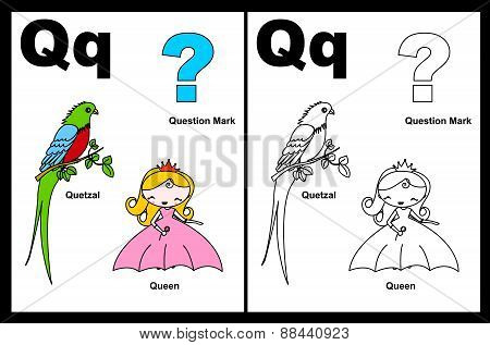 Kids Coloring Book Page Letter Q