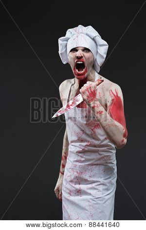 a butcher man. aggressive maniac chef in the blood poster