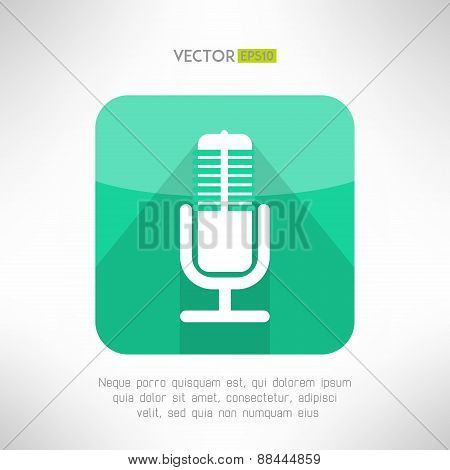 Radio station microphone icon in modern flat design. White and simple mic sign with long shadow. Vec