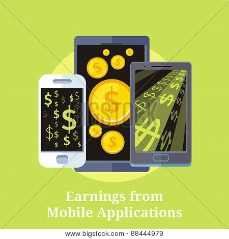 Dollar money phone concept illustration of mobile cell phone smartphone with gold dollar and coins. Earning from mobile application. Online payments poster