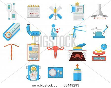 Flat design icons vector collection of gynecology