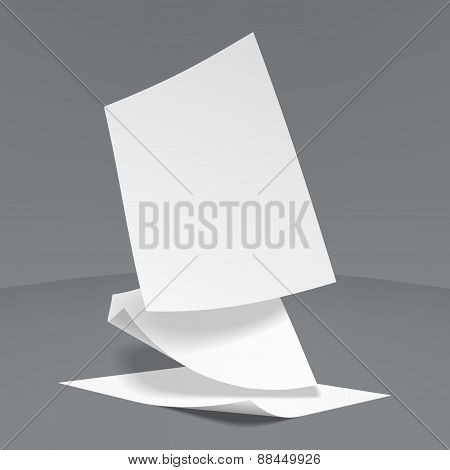 Vector Illustration of  three realistic paper sheets falling dow
