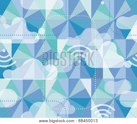 Hexagon Pattern With Clouds And Wifi Icons
