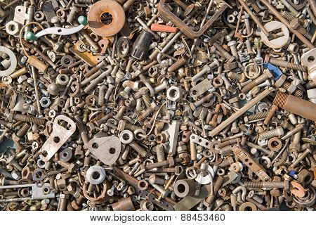 A Lot Of Old Bolts And Nuts