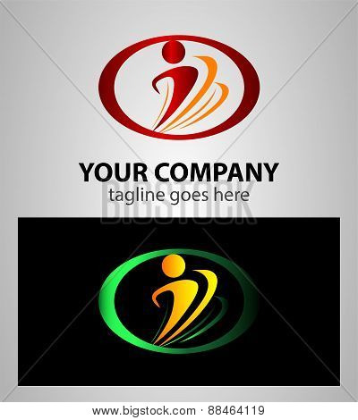 Design vector wave logo element. Abstract people icon. You can use in the media, mobile, public grou