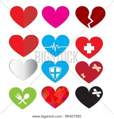 Set of vector heart symbol