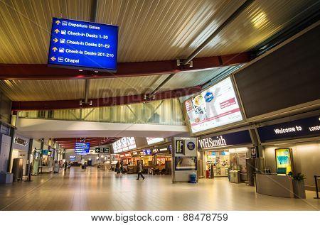 LONDON, UNITED KINGDOM - April 12, 2015: Empty Luton airport in London, UK
