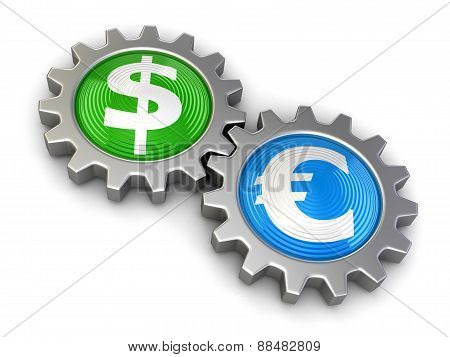 Gears with Dollar and Euro (clipping path included)