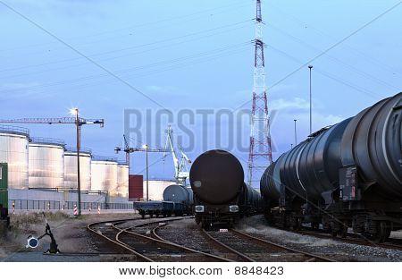 Oil Tank Cars In Twilight