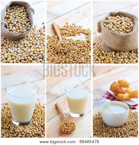 Soymilk And Soy Beans Collage.