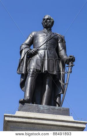 A statue of Sir Henry Havelock a former British General sitauted in Trafalgar Square in London. poster