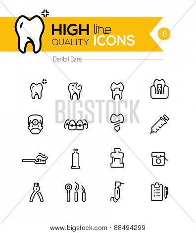 Dental Care line icons series