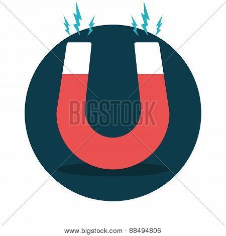 Red horseshoe magnet magnetism magnetize attraction, Flat design, Vector illustration. poster