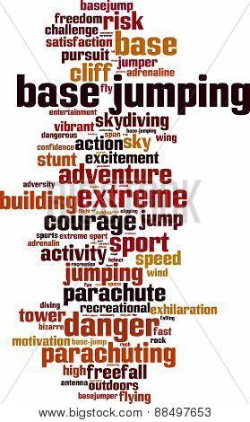 BASE jumping word cloud concept. Vector illustration poster