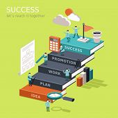 flat 3d isometric infographic for reach success concept with businessman climbing up book stairs to reach their goal poster