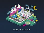 mobile navigation concept 3d isometric infographic with tablet showing city map poster