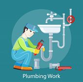 Plumbing work. Sanitary works. Plumber and wrench. Engineer character. Plumber repairing a pipe under a sink. Flat icon modern design style concept poster
