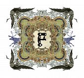 The Victorian capital letter P with four owls and four deer. poster