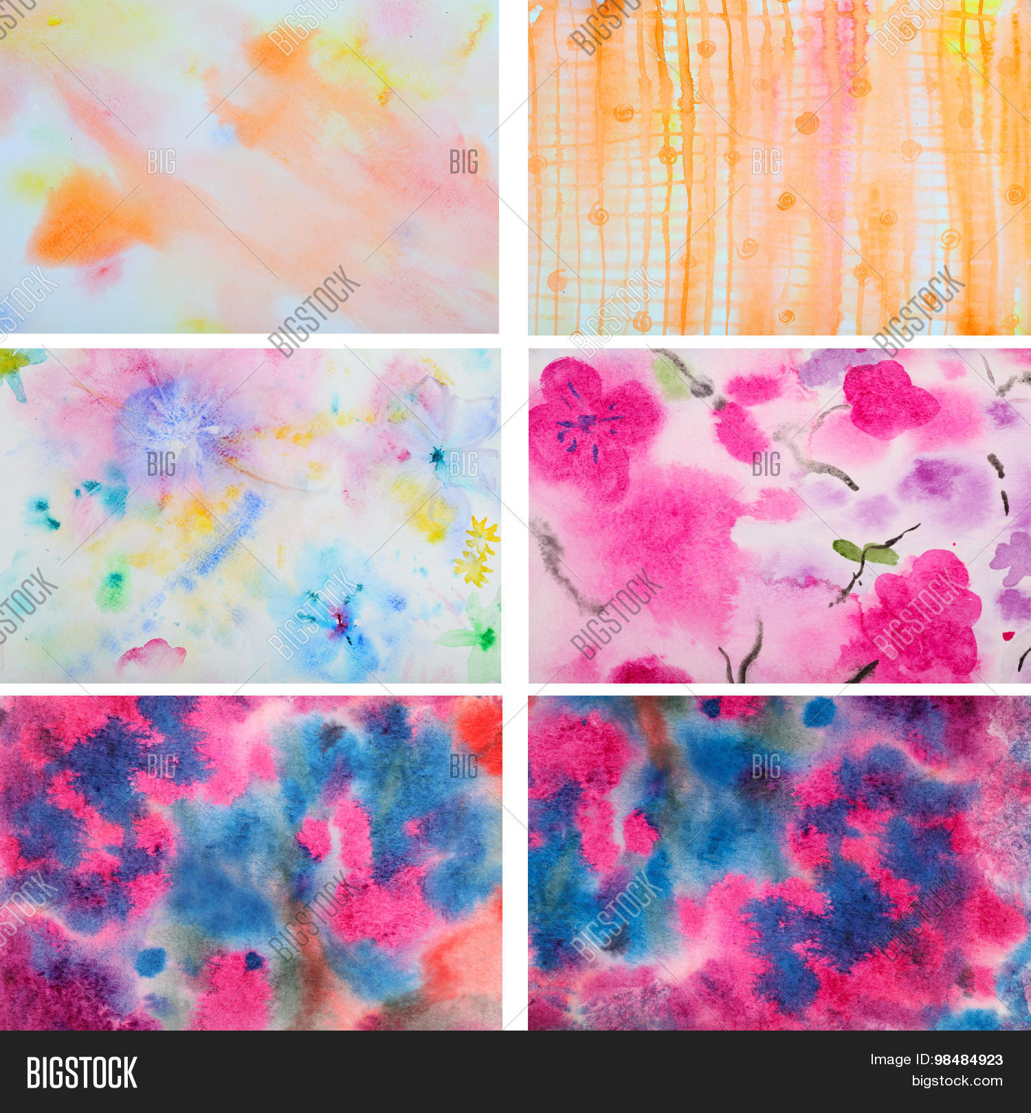 Set of 6 abstract watercolor background.